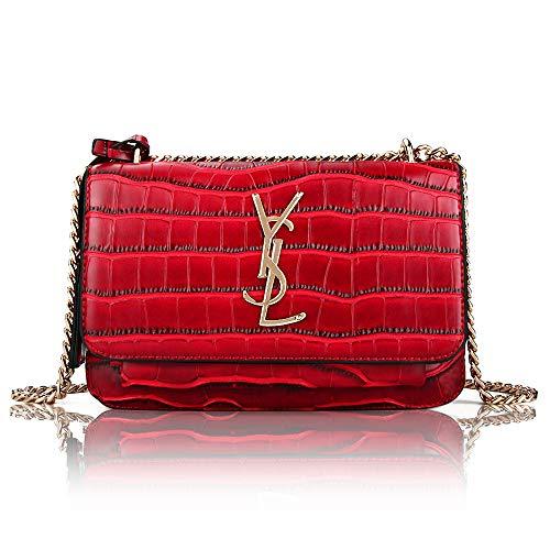 AUSTRY Designer Leather Shoulder Bag for Women Classic Qulited Crossbody Clutch Purse (Red)