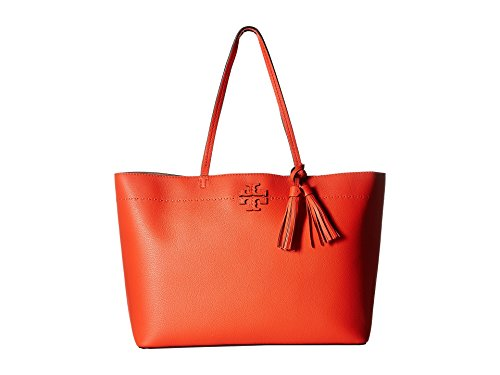 Tory Burch Pebbled Leather McGraw Tote (Poppy Red)