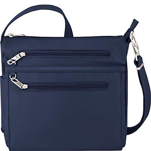 Travelon Anti-Theft Essential North/South Bag – Small Nylon Crossbody for Travel & Everyday – (Royal Blue/Gray Interior)