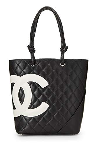 CHANEL Black Quilted Calfskin Cambon Ligne Tote Medium (Pre-Owned)
