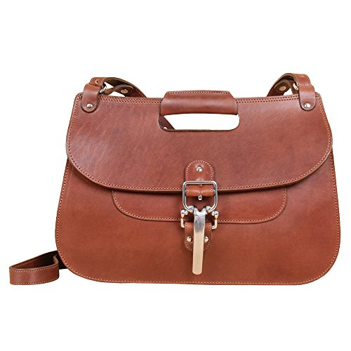 Womens Crossbody Purse Shoulder Handbag Brown Chestnut Leather Bag No. 18 Hunt