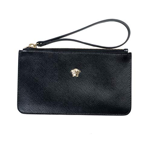 Versace 100% Leather Black Women's Wristlet Wallet Clutch