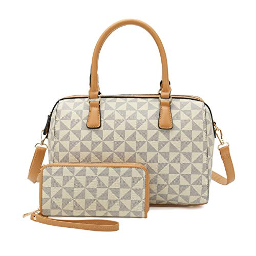 Satchel Purses and Handbags for Women Shoulder Tote Bags Wallets Top Handle Messenger Hobo 2pcs Set (New White 2827)