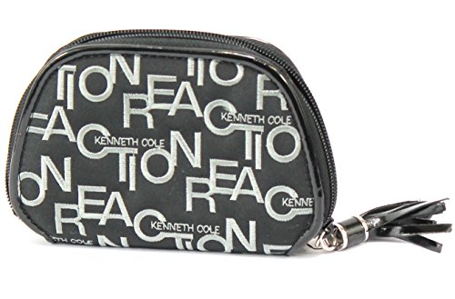 Kenneth Cole Reaction Women's Fabric Logo Embroidered Zip Indexer Wallet-Black