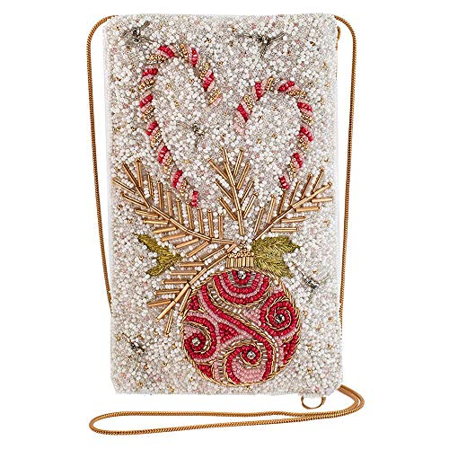 Mary Frances Sweet Wishes, Candy Cane Holiday Theme Beaded Crossbody Phone Bag