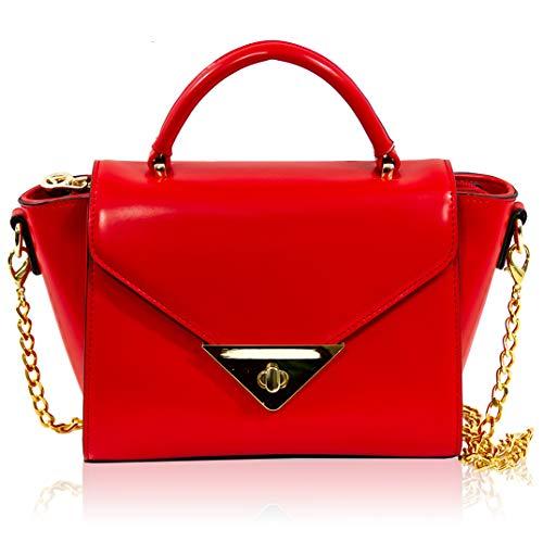Valentino Orlandi Italian Designer Coral Red Leather Traingle Clutch Bag w/Chain