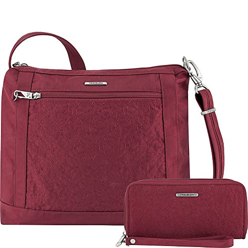 Travelon Anti-Theft Square Crossbody and Wallet Set – Medium RFID Lined Handbag for Travel & Everyday – (Ruby/Dusty Rose Interior)