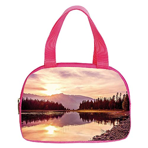 iPrint Vogue Small Handbag Pink,Landscape,Grand Teton Mountain Range at Sunset Jackson Lake Calm National Park USA Decorative,Peach Light Yellow,for Girls,Diversified Design.6.3″x9.4″x1.6″