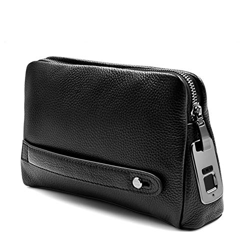 Upgrade Mens Wallets Genuine Leather with Zipper,Smart Fingerprint Recognition Long Wallet Clutch,Security Anti-Theft Handbag,Black