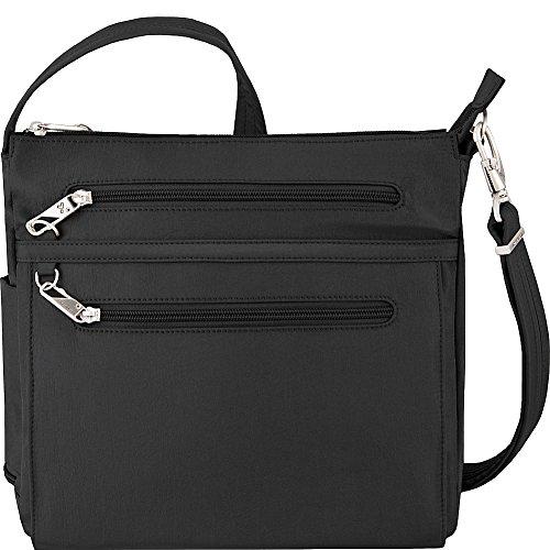 Travelon Anti-Theft Essential North/South Bag – Small Nylon Crossbody for Travel & Everyday – (Black/Dusty Rose Interior)