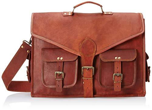 18 Inch Rustic Vintage Leather Messenger Bag Leather Laptop Bag Men's Leather Briefcase Satchel Bag