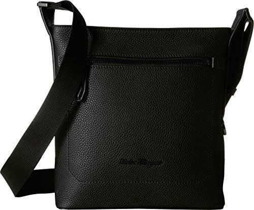Salvatore Ferragamo Men's Firenze Leather Crossbody Bag, Nero, Black, One Size