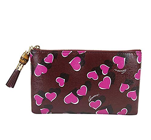 Gucci Bamboo Burgundy Leather Heartbeat Pouch With Detail Clutch Bag 338816 5009