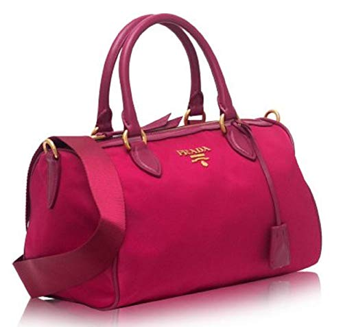 Bauletto Baguettes Nylon and Leather Pink(Ibisco) Handbag with Removable Strap 1BB797