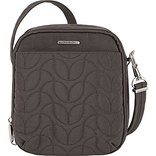 Travelon Anti-Theft Quilted Tour Bag – Extra Small RFID Lined Crossbody for Travel & Everyday – (Smoke/Teal Interior)