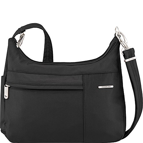 Travelon Anti-Theft Medium Welted Double Zip Crossbody – Lightweight Water & Dirt Resistant Handbag – (Black/Dusty Rose Interior)