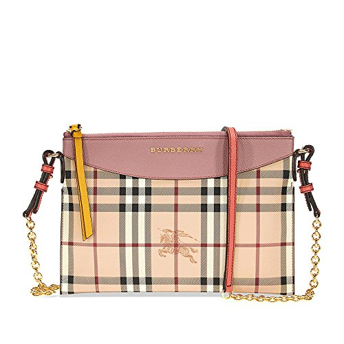 Burberry Haymarket Check and Two Tone Leather Clutch – Dusty Pink / Multi
