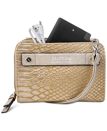 Kenneth Cole REACTION Crossbody Wallet 24? Strap Embossed Leather Snake (Antique Gold, One Size)