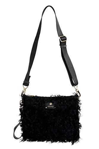 Versace Women's Black Real Fur Leather Clutch Shoulder Bag