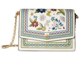 Tory Burch Robinson Floral Convertible Shoulder Bag Ivory Meadow Folly Flower New