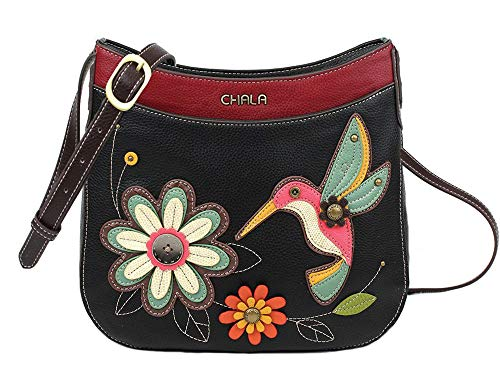 Chala Handbags Hummingbird Crescent Crossbody Handbag Purse, Hummingbird Lovers