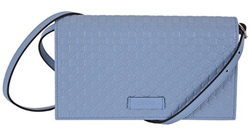 Gucci Women's Light Blue Leather Crossbody Micro GG Guccissima Mini Wallet Bag 466507