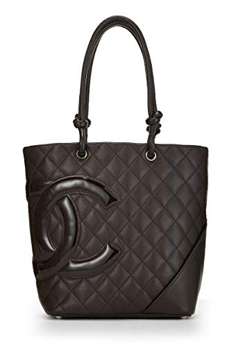 CHANEL Brown Quilted Calfskin Cambon Ligne Tote Medium (Pre-Owned)
