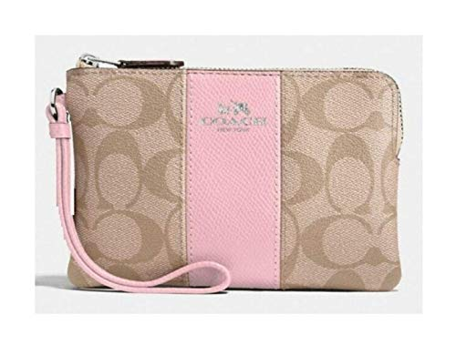 Coach Signature PVC Leather Corner Zip Wristlet, Light Khaki, Carnation PInk