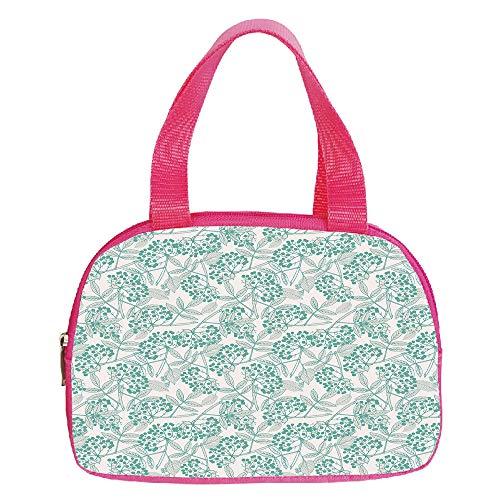 Personalized Customization Small Handbag Pink,Geometric,Retro Eighties Design Vibrant Color Scheme Geometrical Lines Half Circles Vintage,Multicolor,for Girls,Personalized Design.6.3″x9.4″x1.6″