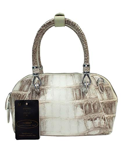 Authentic M Crocodile Skin Womens Belly Clutch Bag Purse Hobo W/Strap White Round Zipper Handbag