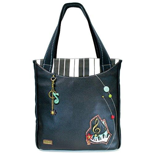 Chala Tote Bag (Striped Zip Tote, Black)