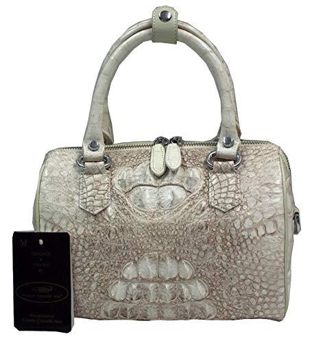 Authentic M Crocodile Skin Womens Clutch Bag Purse W/Strap White Handbag