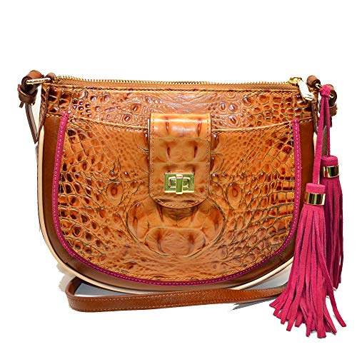 Brahmin Vanessa Crossbody Croco Emb Toasted Almond Hayes