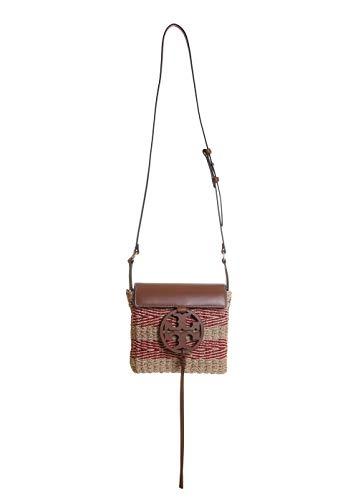 Tory Burch Miller Stripe Straw Crossbody Handbag in Natural/Brilliant Red