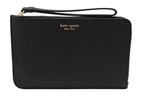 Kate Spade New York Cameron Medium L-Zip Leather Wristlet Pouch Wallet Black