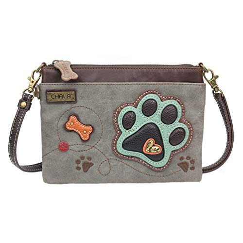 Chala Paw Print Mini Crossbody Handbag Dog Lovers Gift, Convertible Straps