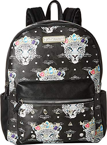 Betsey Johnson Women's Snow Queen of the Jungle Print Backpack Black BB18685