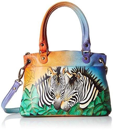 Anna by Anuschka Satchel Handbag | Genuine Leather | Zebra Safari
