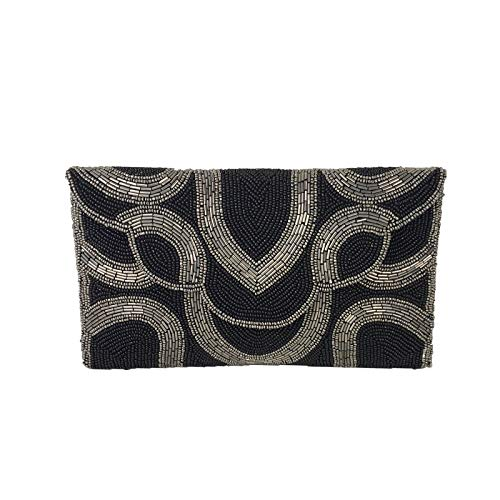 From St Xavier Tove Beaded Clutch Evening Bag, Black/Silver