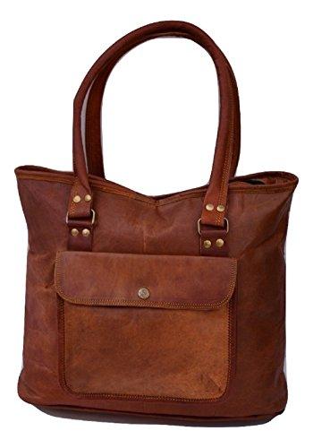 Handmade 17″ Women Vintage Style Genuine Brown Leather Tote Shoulder Shoppers Bag Handmade Purse