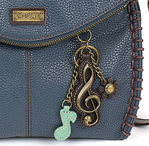 Chala Charming Crossbody Bag – Flap Top and Metal Key Charm in Navy Blue, Cross-Body or Shoulder Purse – Blue Clef