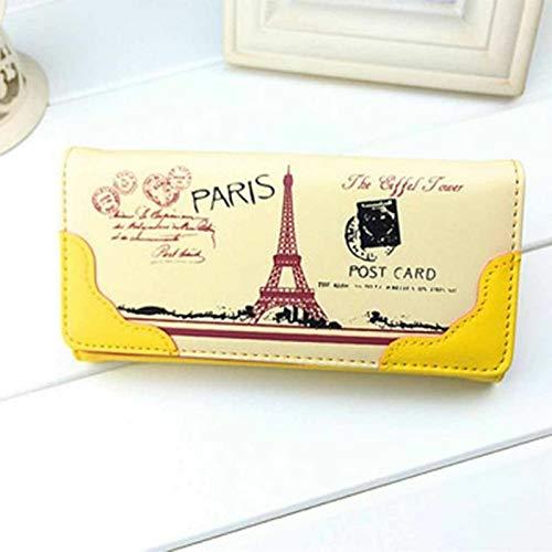 Lady Women Clutch Long Purse Leather Eiffel Wallet Card Holder Handbag Phone Bag (Color – Yellow)