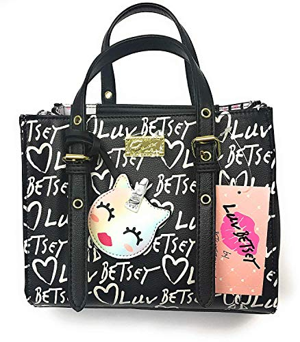 Betsey Johnson Signature Logo Handbag Purse w/ 3 Rainbow Zippers – Shoulder & Top Handle