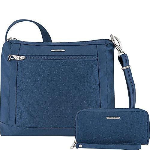 Travelon Anti-Theft Square Crossbody and Wallet Set – Medium RFID Lined Handbag for Travel & Everyday – (Ocean/Teal Interior)