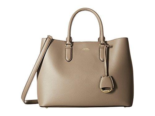 Lauren Ralph Lauren Women's Dryden Marcy Large Satchel Leather Tote Handbag Taupe/Porcini