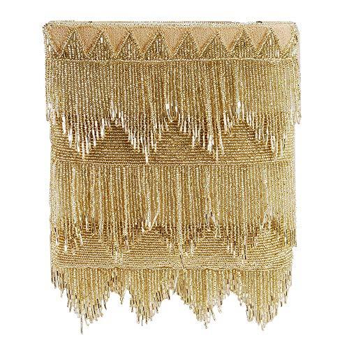 MARY FRANCES Flapper, Gold Beaded Fringe Crossbody Handbag