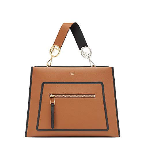 Fendi Shopping Bag Runaway Calf Leather Brown with Black Trim Handbag 8BH343