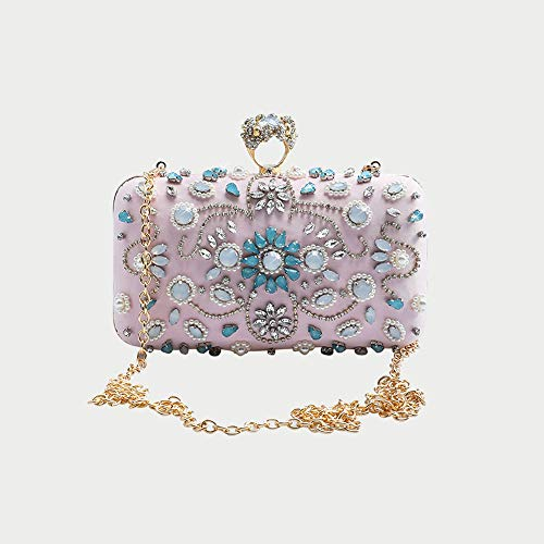 MXYYY Antique Floral Seed/Bead/Sequin Soft Clutch Evening Bag, Exquisite Seed Bead Sequined Leaf Evening Clutch Purse Handbag