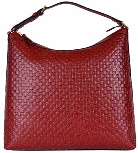 Gucci Women's Micro GG Guccissima Leather Purse Hobo Handbag (449732/Red)