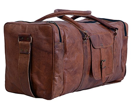 Komal's Passion Leather Leather Duffel Bag Large 24 Inch Square Duffel Travel Gym Sports Overnight Weekender Leather Bag for Men and Women
